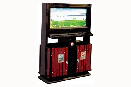 钢木广告牌垃圾桶 - 广告灯箱果皮箱