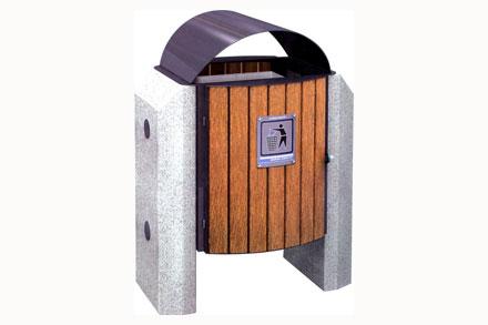 石材垃圾桶 - 钢制单口果皮箱